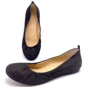 Audrey Brooke Newport 8M Black Nubuck Ballet Flats